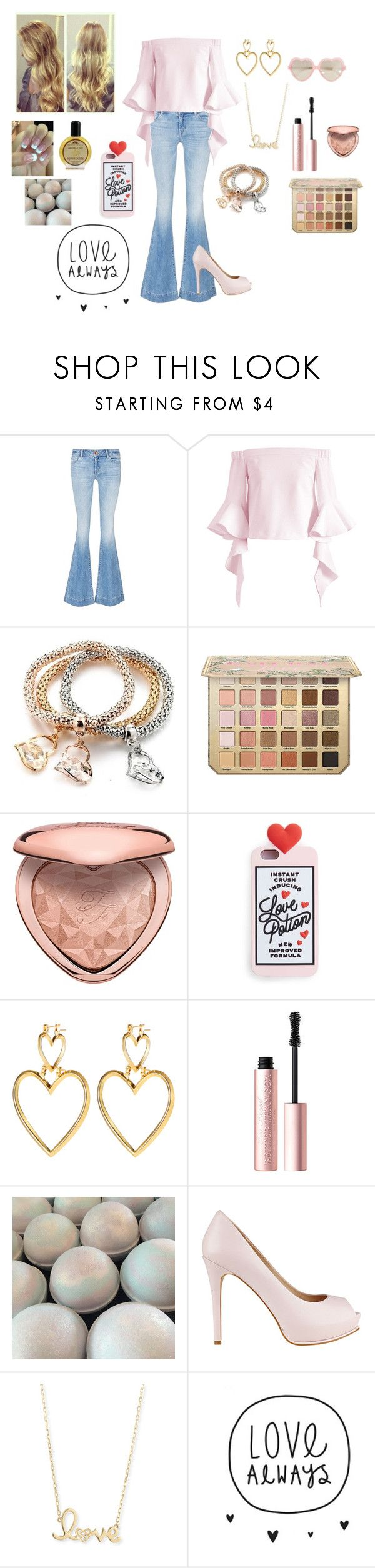 """""""Aphrodite"""" by makennadelaneypowell on Polyvore featuring J Brand, Aroma, Chicwish, Too Faced Cosmetics, Miss Selfridge, GUESS, Sydney Evan and Cutler and Gross"""
