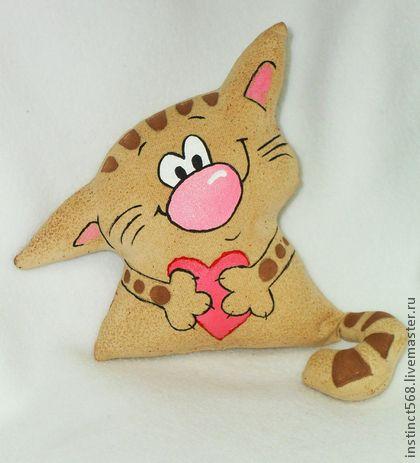 Котя Влюбленный - коричневый,кот,котики,кофейная игрушка,чердачные игрушки