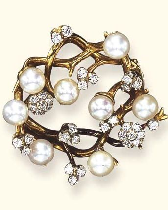 A CULTURED PEARL AND DIAMOND FOLIATE BROOCH, BY TIFFANY & CO.