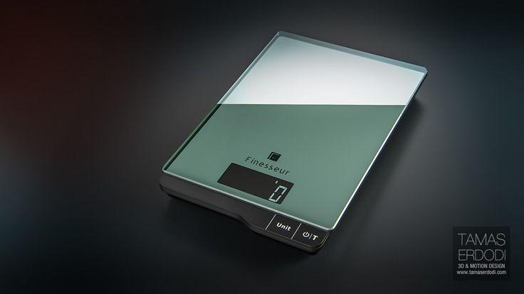 Digital kitchen scale product visualisation interior and studio renders.  http://tamaserdodi.com #3D #Render #food #digital #modern #glass #cinema4d #vrayforc4d #studio #black #elegant