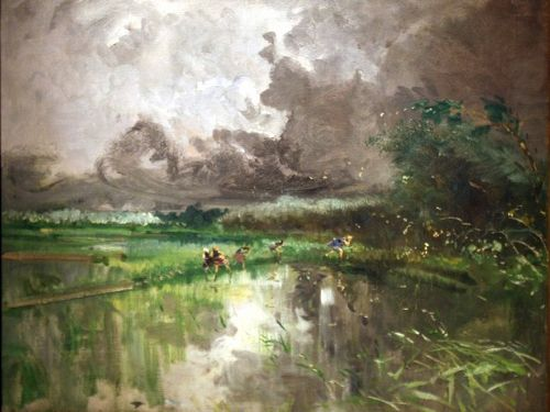 Temporale in risaia - Thunderstorm in ricefield, 1896, oil on canvas - Pompeo Mariani (Italian, 1857-1927) #Italian #art