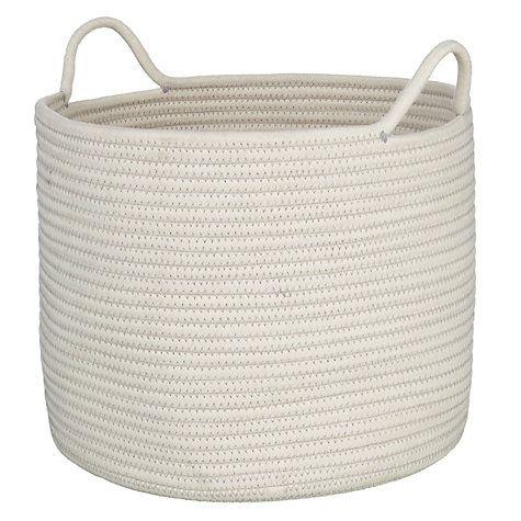 Buy John Lewis Rope Storage Bucket, White Online at johnlewis.com