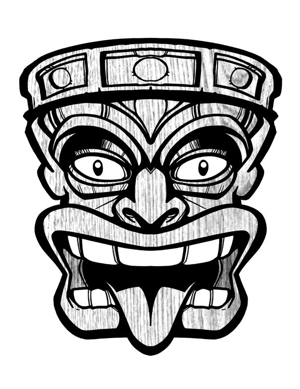 Wooden Tiki Head Drawing Best 25+ Tiki mask ide...