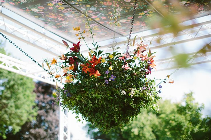 Special floristry projects.A hanging basket centrepiece for Sarah Eberle's Gucci Garden at the RHS Chelsea Flower Show in 2014.