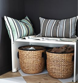 Small Bench Seat With Cushions And IKEA Storage Baskets Tucked Away  Underneath. Love The Baskets.