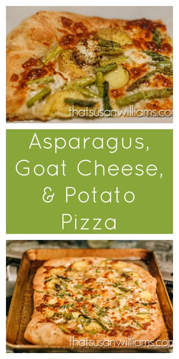 Asparagus, Goat Cheese & Potato Pizza: a vegetarian recipe that is perfect to add to your collection of springtime recipes. Who doesn't love homemade pizza for dinner?
