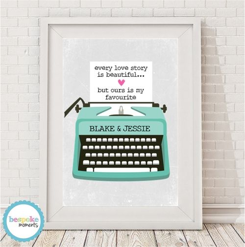 Typewriter Love Print by Bespoke Moments. Worldwide Shipping Available.