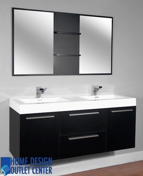 Web Photo Gallery This wall mounted bathroom vanity has a modern outlook and a cabinet of size x x inches This mirror space in this product is x inches