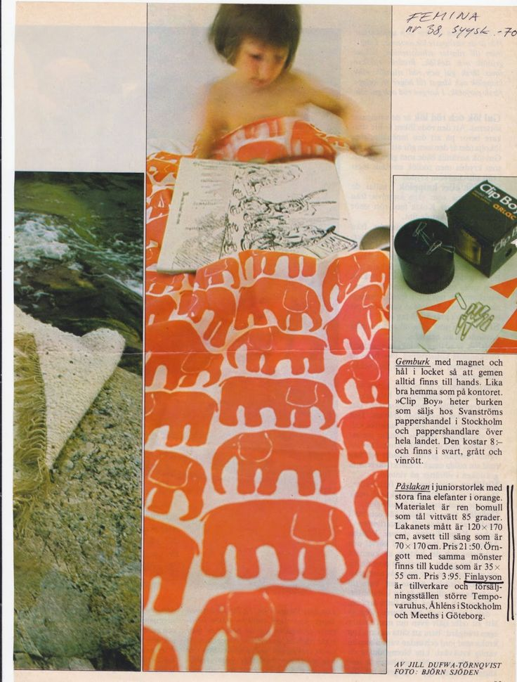Elefantti was featured in Femina in September, 1970.