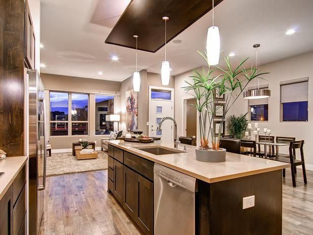 Contemporary Kitchens from Wonderland Homes on HGTV- Light Wood Floor with Dark Cabinets and White Countertop