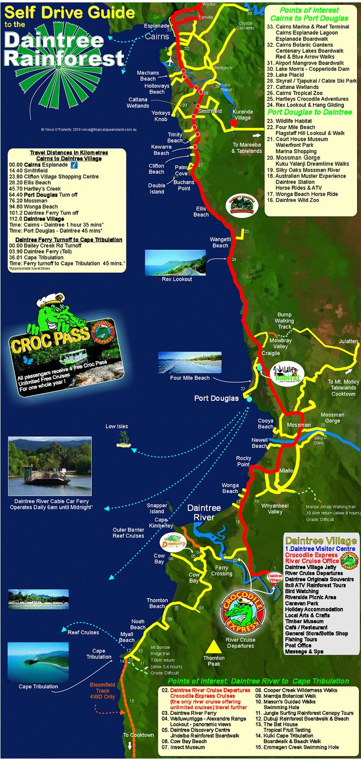Daintree Rainforest Map   We didn't drive this one we went up on tram and came down a different way on the train, this was a great adventure                                                                                                                                                                                 More