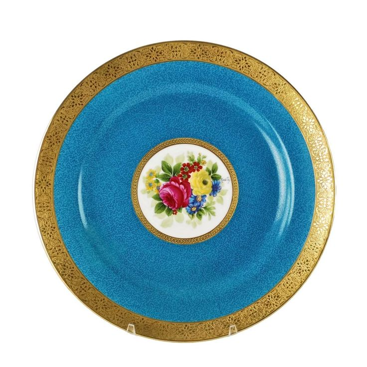 Charles Ahrenfeldt Limoges Gilt Encrusted Hand-Painted Cabinet Plates, Set of 12 | From a unique collection of antique and modern dinner plates at https://1stdibs.com/furniture/dining-entertaining/dinner-plates/