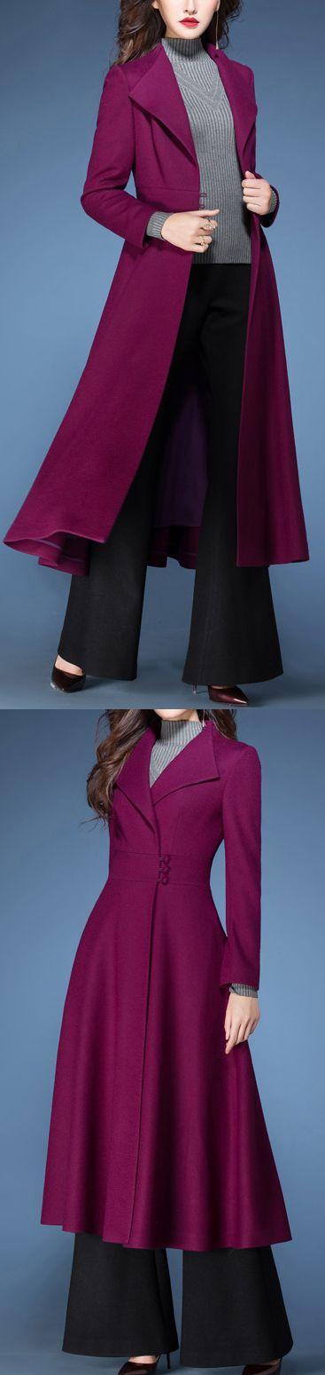 2017 winter purple elegant woolen blended coats slim fit vogue large hem trench coat1