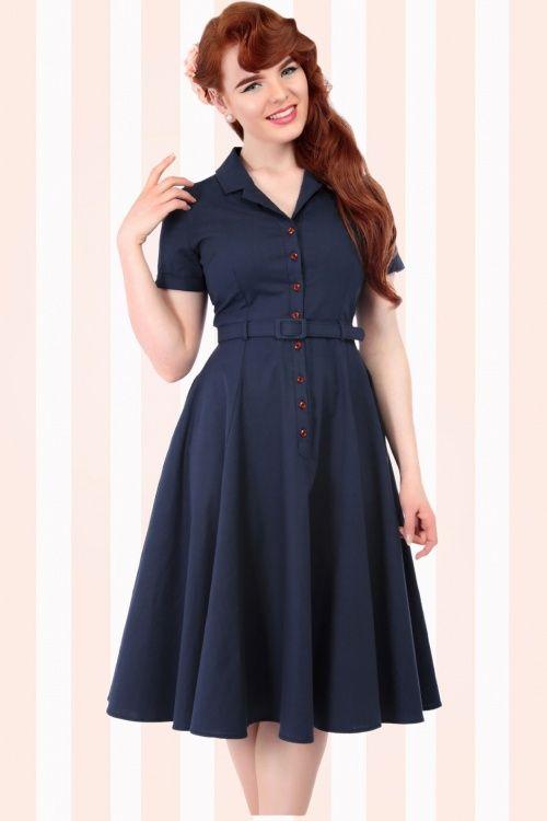 Collectif Cloting Caterina Dark Blue Swing Dress 17741 20151119 0010W