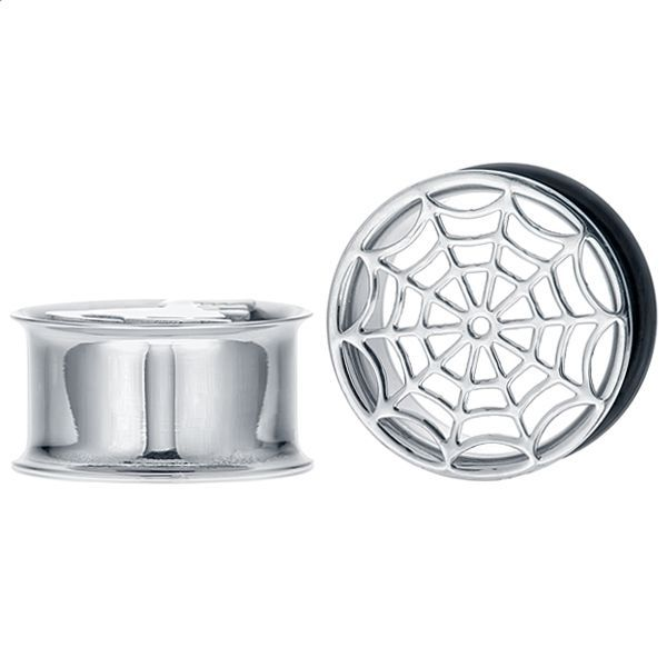With this tunnel you wonâÃÃt be caught up in The Ordinary. The spider web is laser cut from top quality 316L stainless steel for razor's edge lines and high-shine. An O-ring is included with this single flared plug for a comfortable, secure fit and easy-on/easy-off capability. Wear it and watch how fast the reactions find you!