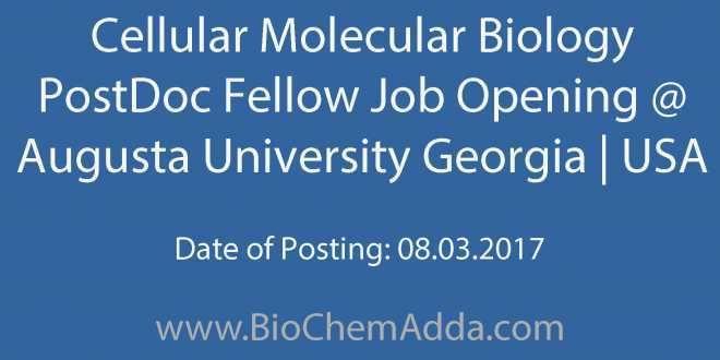 Cellular Molecular Biology PostDoc Fellow Job Opening @ Augusta University Georgia | USA