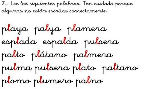 Completo manual para reeducación de lectoescritura. Ideal para alumnos que necesitan ayuda en la lectura. Más de 300 fichas para la dislexia, discriminación visual, sílabas mixtas trabajadas...