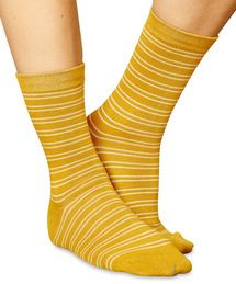Women's Brambling design mustard striped socks by Braintree. Made from bamboo!