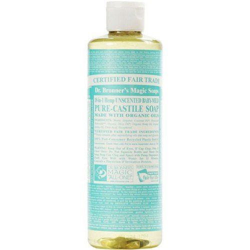 Dr. Bronner's Magic Soaps Pure-Castile Soap, 18-in-1, Biodegradable for outdoor use. Available in Hemp Unscented Baby Mild, Tea Tree, Citrus, Eucalyptus, Peppermint, Lavender... 32-Ounce Bottles (Pack of 2)