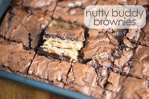 Crispy, crunchy, and gooey Nutty Buddy Brownies! So easy!