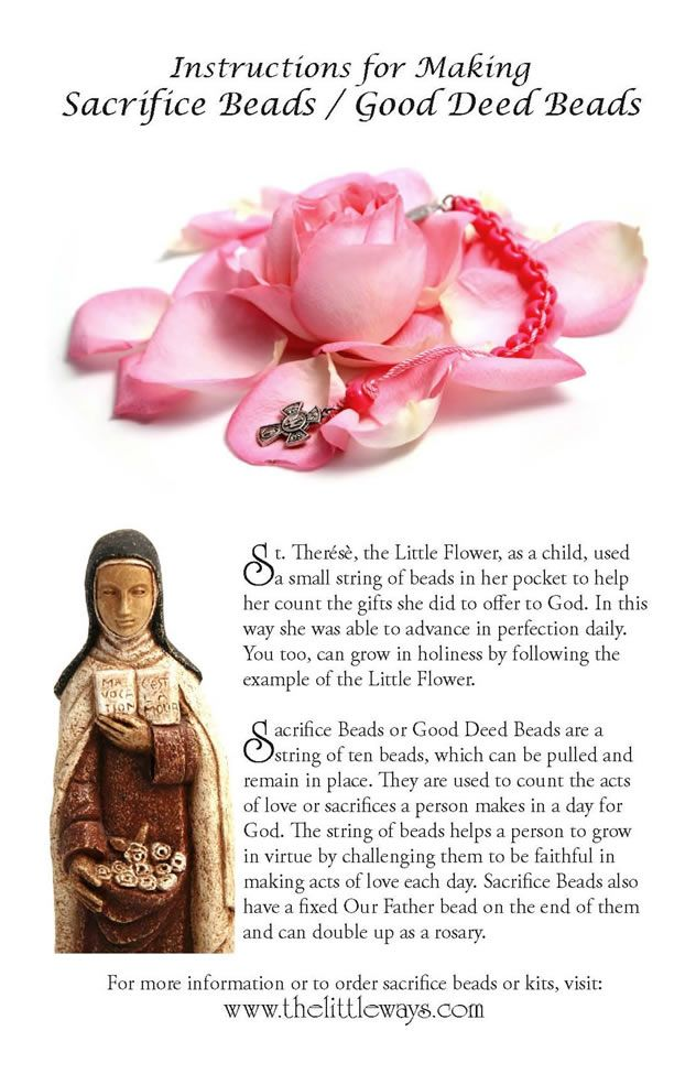 How to Make Sacrifice Beads or Good Deed Beads - Little Ways provides easy-to-follow instructions for making sacrifice beads like those used by St. Thérèse of Lisieux.