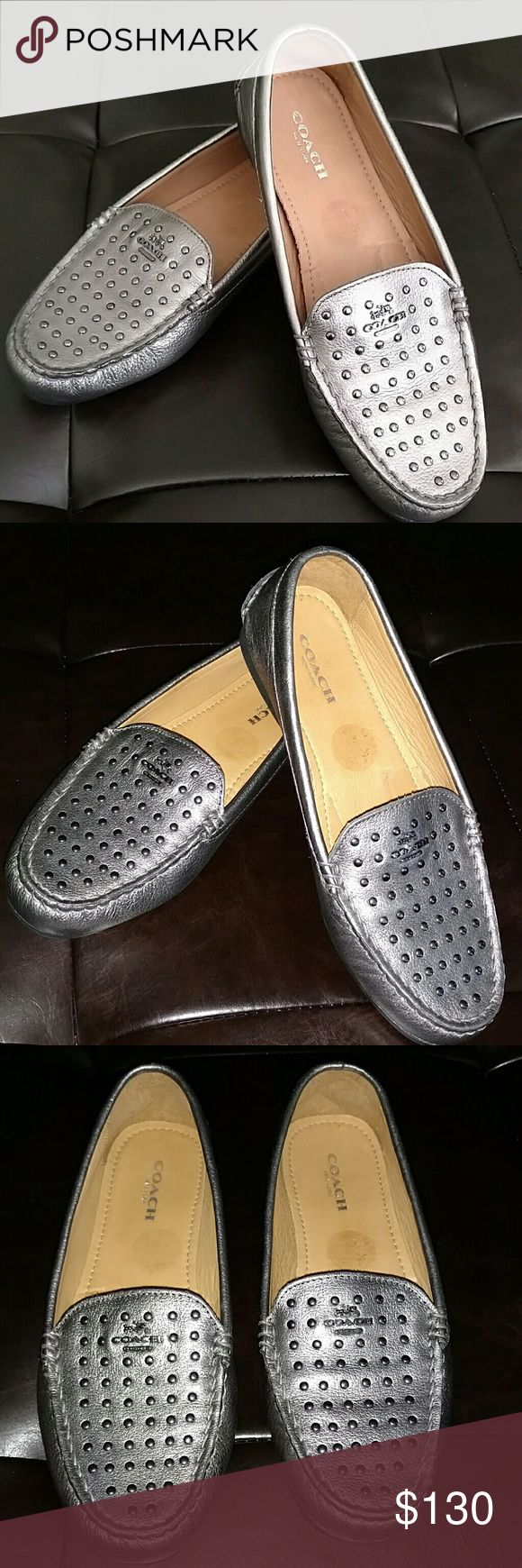 Coach Leather Gun Metal Studded Loafers Coach Leather Gun Metal Studded Loafers Slides Women's size 6B , No box no tags Floor model so wear from fitting . No blemishes aside from slight sticker adhesive reside insole. Coach Shoes Flats & Loafers