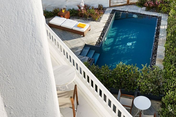 The Honeymoon Private Pool Room features a private garden along with its pool, offering a serene get-away in the heart of Mykonos Town.