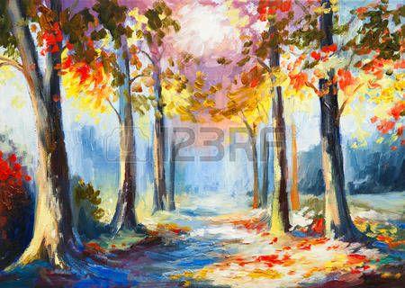 olejomalba - barevné jarní krajina, silnice v lese, abstraktní akvarel photo