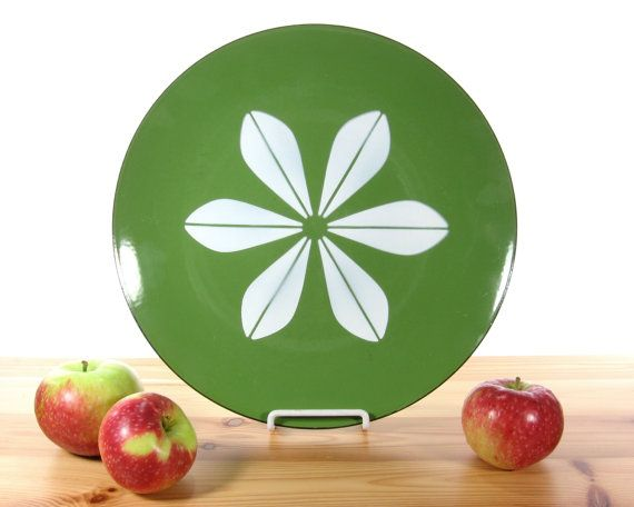 "Cathrineholm Enamelware 12"" Lotus Charger Plate Platter / Green and White / Scandinavian Design / Norway / Danish Modern"