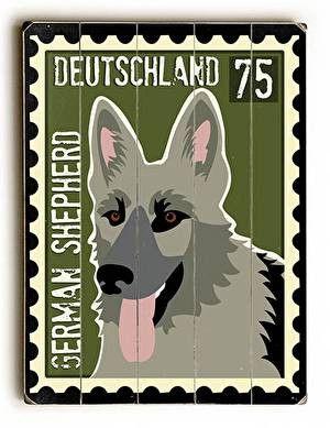 German Shepherd Postage Stamp Wood Sign