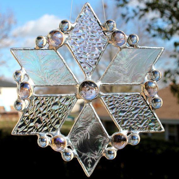 Iridescent Snowflake Stained Glass Suncatcher. $19.00, via Etsy.