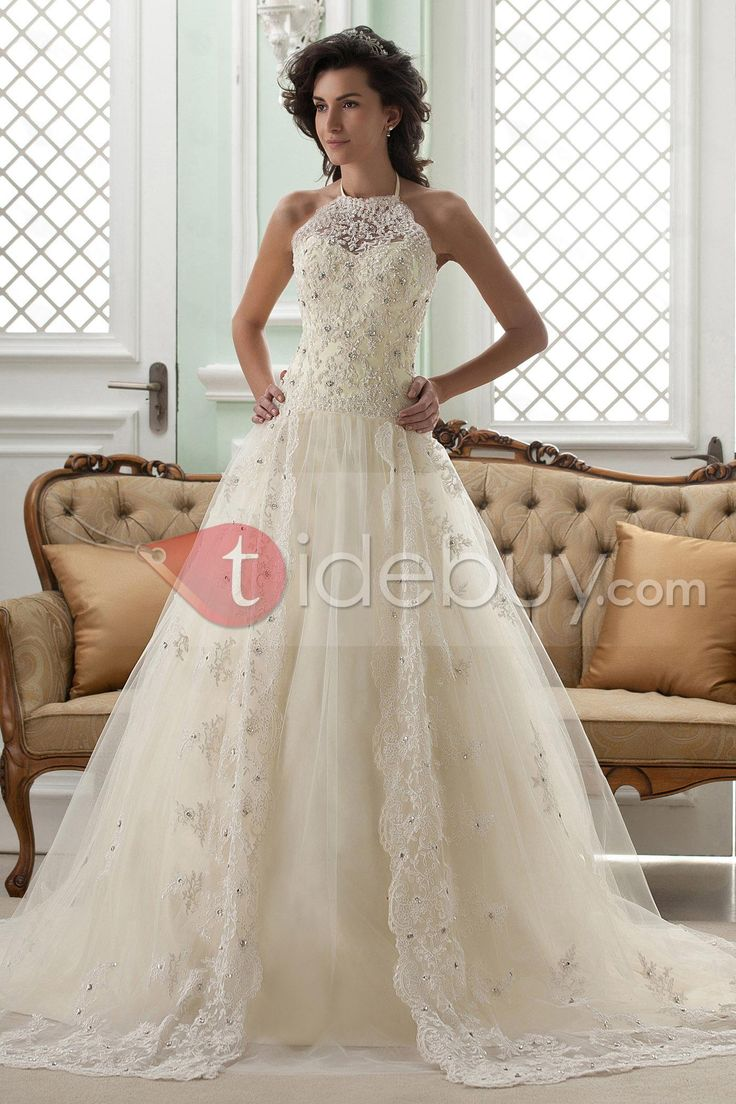 Amazing A-line High-Neck Sleeveless Floor-Length Court Appliques Color Wedding Dress