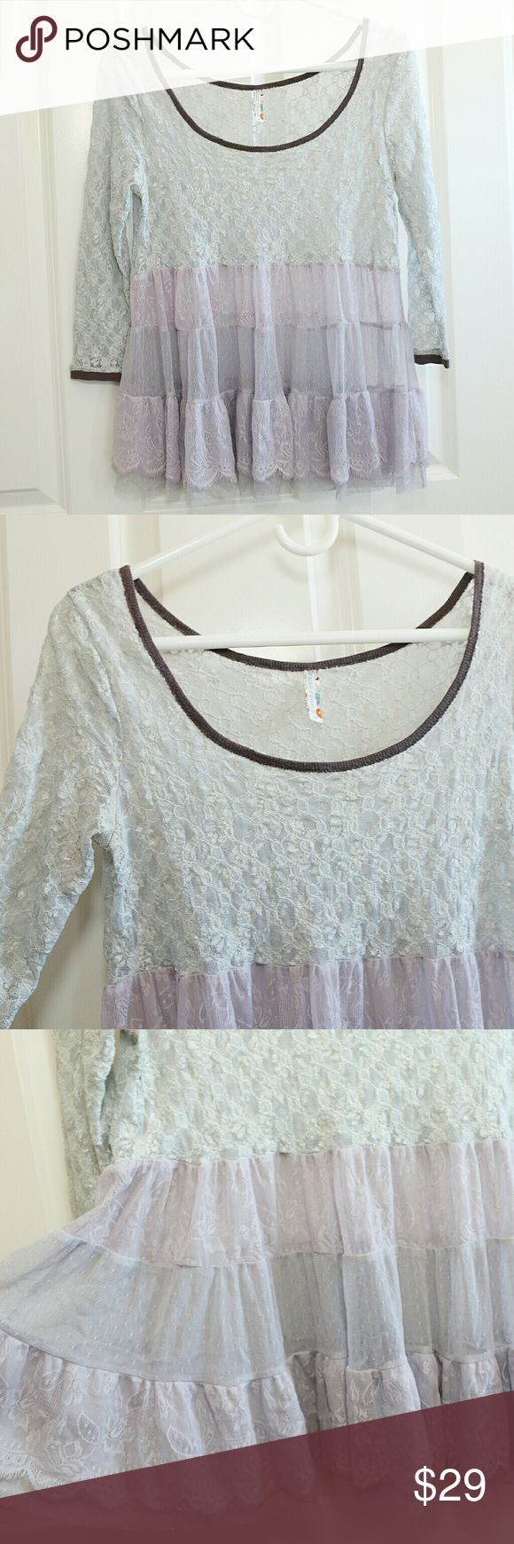 🆕Listing!  Free People Lace Festival Blouse Rare find... Free People lace festival blouse.  All lace.  3/4 sleeves.  Gray and lavender.  Size Small.  About 17 inches armpit to armpit.  About 24 inches shoulder to hem.  Nylon / Spandex / Polyester.  Gently preowned. Free People Tops Blouses