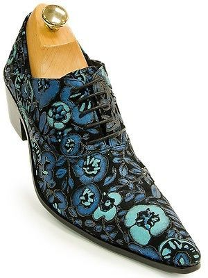 Fiesso Mens Blue Rose Floral Design Leather Lace-Up Party Dress Loafer Shoe