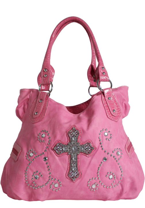 Rhinestone Purses and Handbags | !It has a matching Rhinestone Cross Wallet .The Hot Pink Bling Purses ...