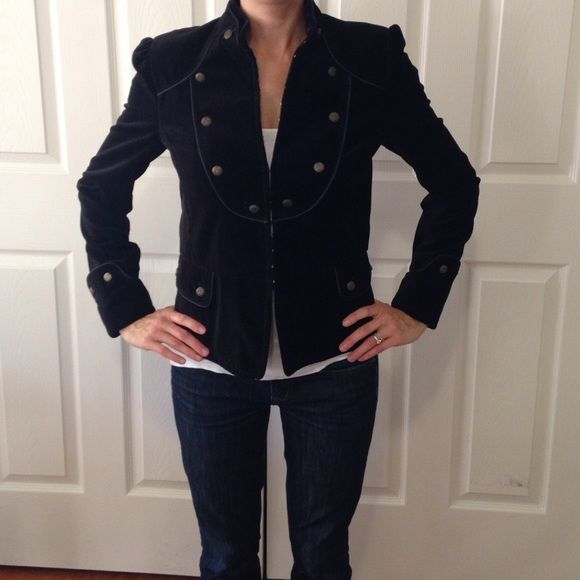 Zara black velvet jacket Black velvet jacket with button details. Missing one loop which could be added (see detail picture). Fits like a small Zara Jackets & Coats