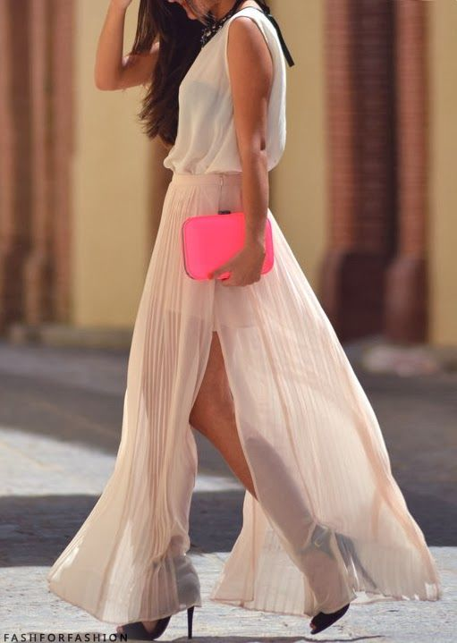 hot pink clutch with a neutral maxi