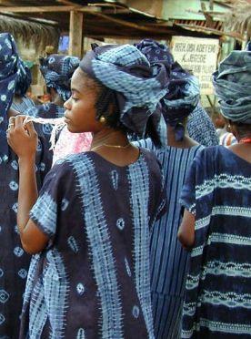 Nigerian women in indigo textiles