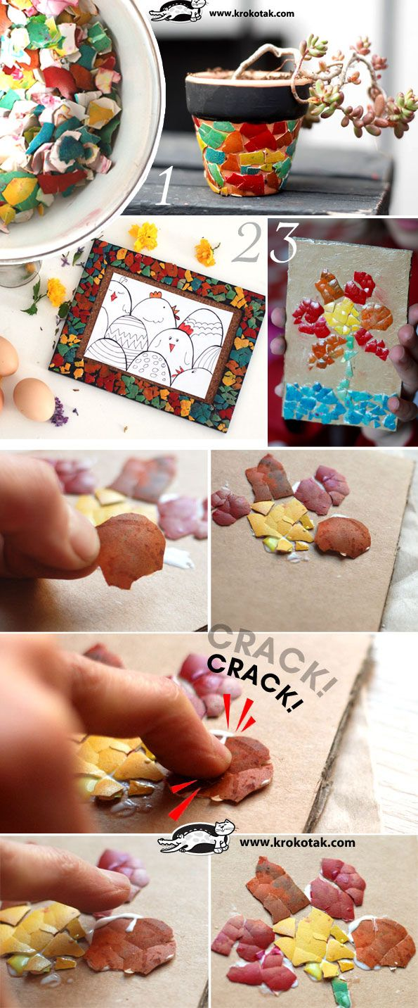 Three ideas for eggshell mosaic. coloured eggs