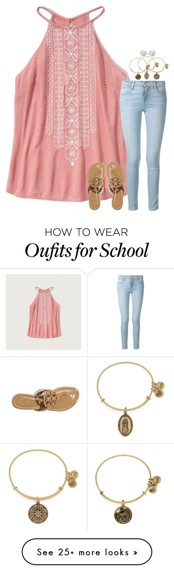 """at school rn"" by jazmintorres1 on Polyvore featuring Abercrombie & Fitch, Frame Denim, Tory Burch, Alex and Ani and Kenneth Jay Lane"