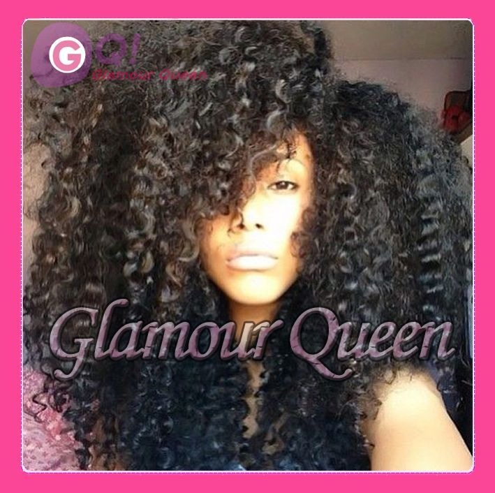 Brazilian virgin human hair afro kinky curly full lace wig - Curly Hairstyles Tumblr