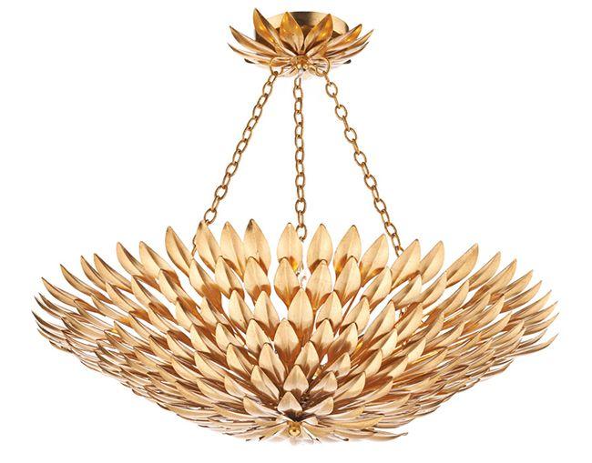 Dar VOL5435 Volcano 5 Light Gold Leaf Ceiling Pendant