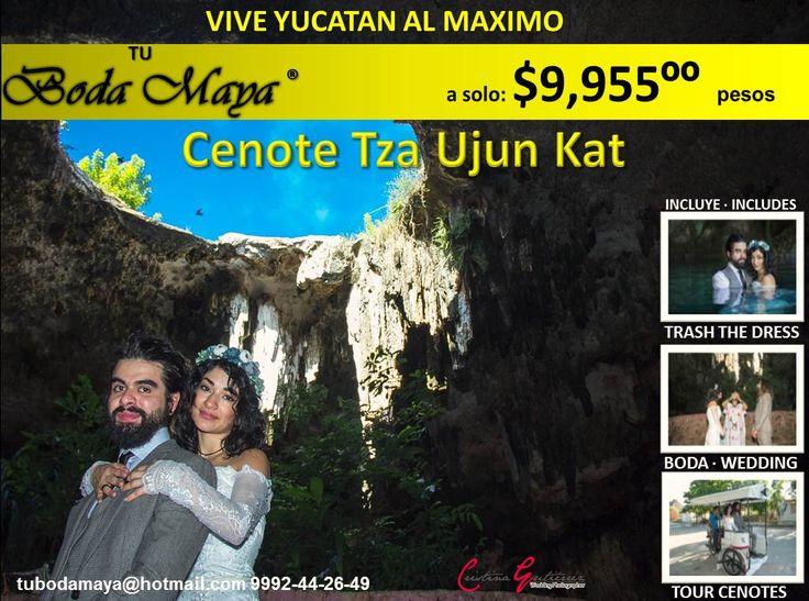 <3 <3 Promocion NOVIEMBRE-DICIEMBRE Romantico <3 <3 https://www.youtube.com/watch?v=bWcdCjgS-mU  Queremos consentirte a ti y a tu pareja. Celebra TU BODA MAYA este mes de Noviembre o Diciembre 2016 en el Cenote Tza Ujun Kat y...  - GRATIS las fotos de Tu Boda Maya - GRATIS una sesion fotografica - GRATIS Sesion Trash the Dress - GRATIS un super Tour Romantico a 3 Cenotes en Homun  ***********PROMOCION POR TIEMPO LIMITADO**************** Inf: 9992-44-26-49 tubodamaya@hotmail.com #tubod