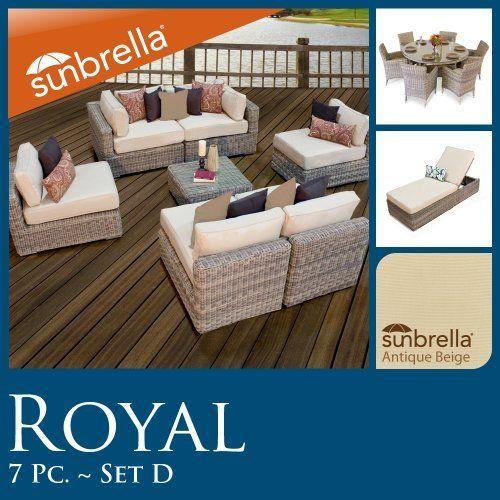 15 pc combo outdoor patio set 7pc seating u0026 7pc dining u0026 chaise lounge wicker sunbrella covers by tk classics high density pe
