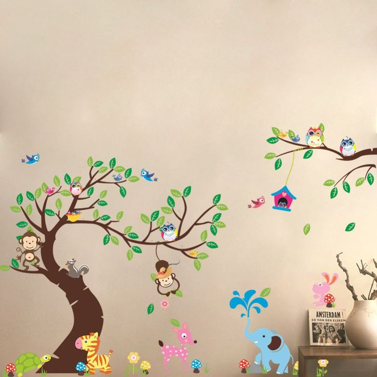 Marvelous Songmics Cartoon Waldtiere Kinderzimmer Wandaufkleber Wandtattoo Baum Wandsticker