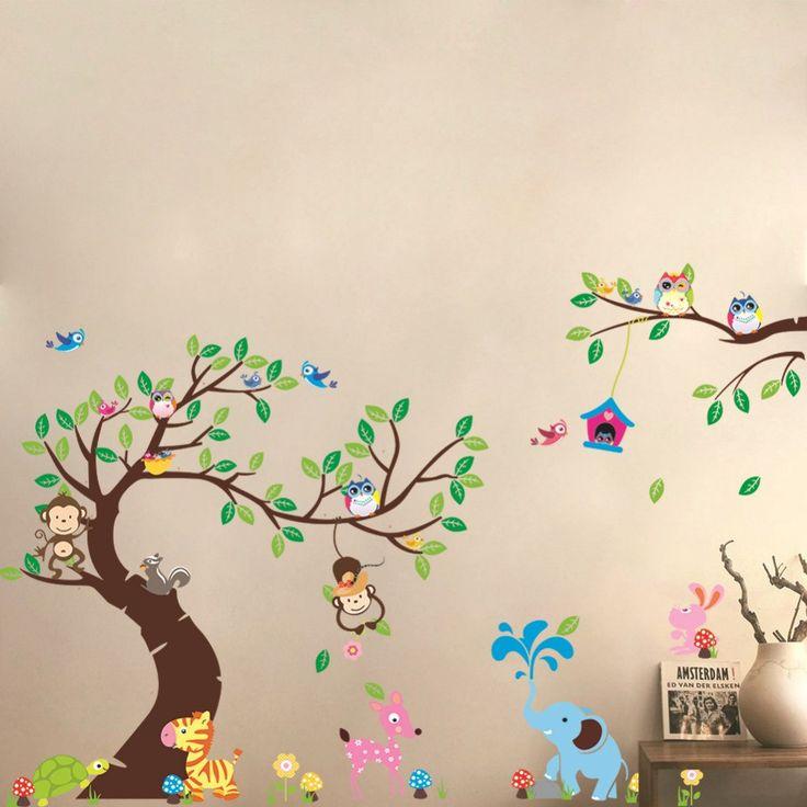 Large monkey tree wall stickers decals jungle animals cartoon wallpaper, wall decal/wall sticker