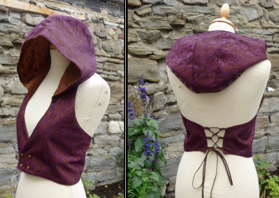 Hooded vest, Backless Pixie Elfling Waistcoat, Corset detail Lace Fabric