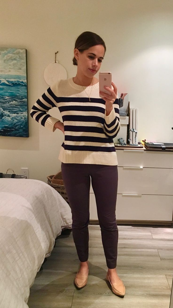 Jules in Flats – Striped Sweater with Grey Ankle Pants and Nude Flats (Business …