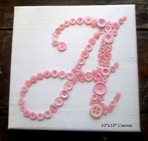 Personalized Nursery Art, Button Letter A on Silk, Kids Wall Art, Button Art, Nursery Decor, Toddler Gift, Wall Canvas or Ready-to-Frame