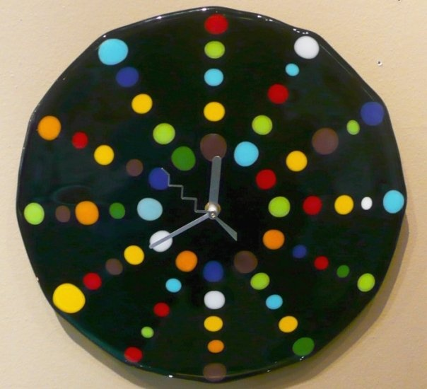 95 best images about fused stained glass clocks on for Fused glass wall clocks